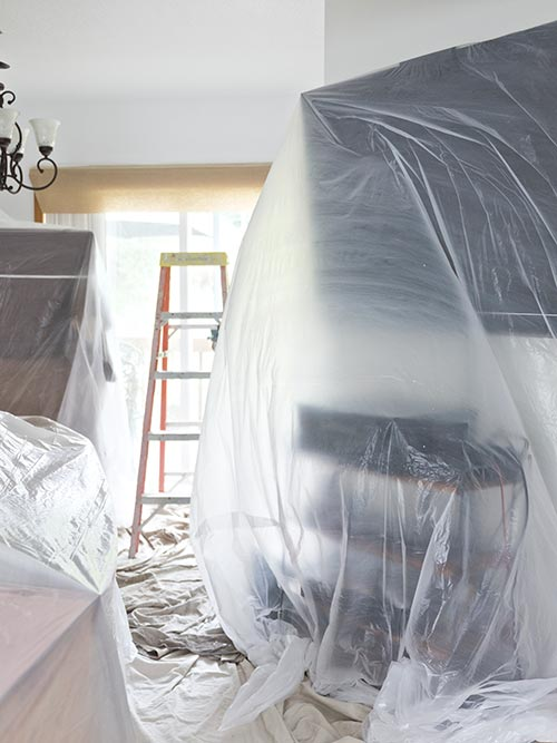 Drop sheet setup in home for paint job