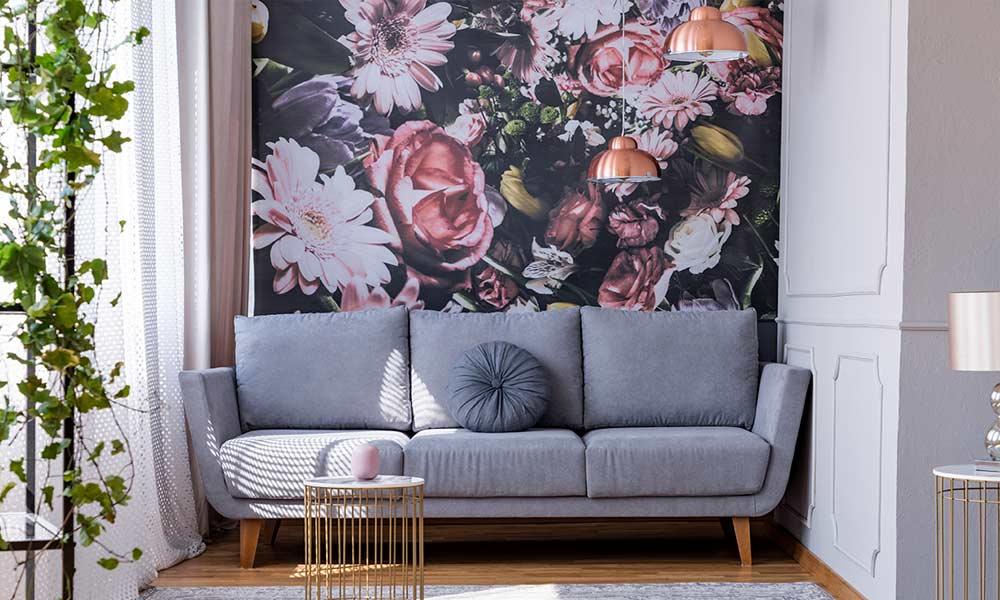 Floor wallpaper in interior home living space.